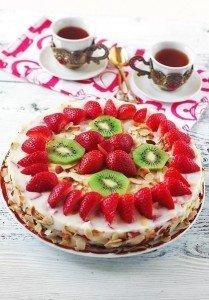 Йогуртовый торт с киви Ингредиенты: Для коржа: